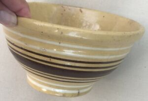 Antique-Yelloware-Yellowware-Yellow-Ware-Brown-amp-White-Stripes-Bowl-6-1-4