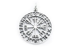 Grosser-Wikinger-Kompass-Vegvisir-Anhaenger-Silber-Gothic-Schmuck-NEU