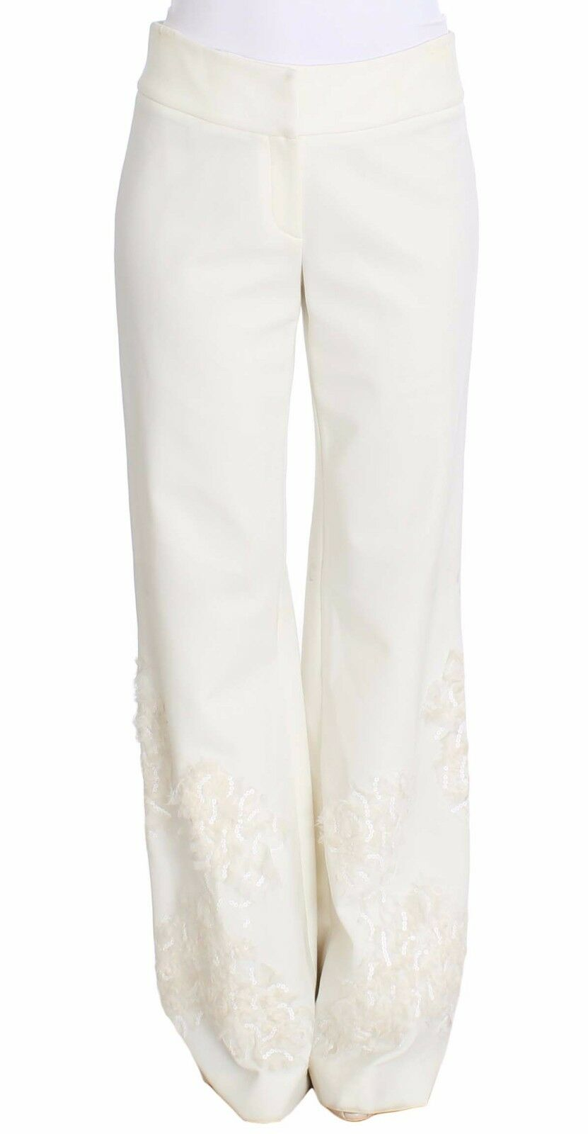 NWT ERMANNO SCERVINO Pants White Stretch Sequined Trousers IT42   US8