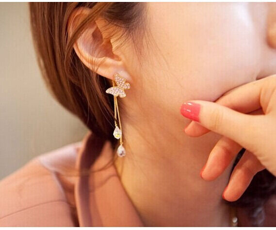 Lady Fashion Nice Golden Butterfly Water Drop Tassel Chain Pendant Stud Earring