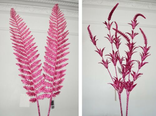 Glittered Foliage Leaves Stems x 2 PCS birthday floral  occasions