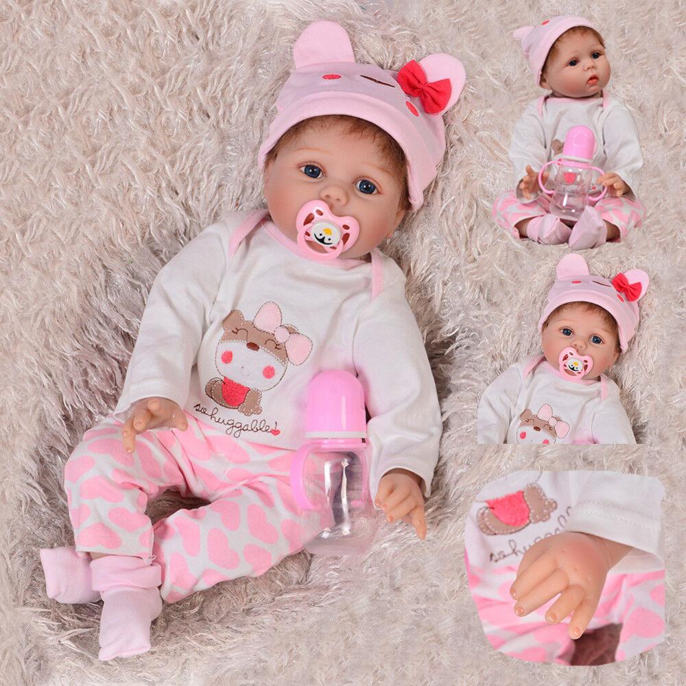 22  Reborn Baby Dolls Lifelike Newborn Artist Handmade Alive Girl Doll bluee Eyes