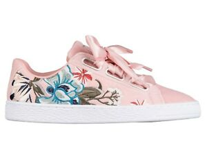 Details about Puma Basket Heart Velvet Hyper Embroidery Womens 366116-02  Peach Shoes Size 6.5