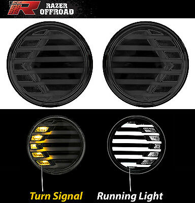 Black+Smoke lens+Turn Signal LED Light+DRL Running Light fit 07-17 Jeep Wrangler