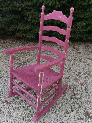 LARGE SHABBY CHIC SOLID OAK MID CENTURY ROCKING CHAIR IN CINDER ROSE FARROW&BALL