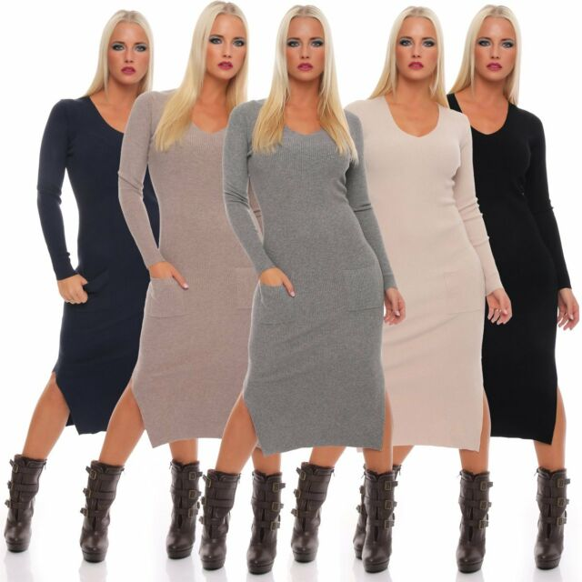 10757 Feinstrick Strickkleid Maxikleid Langarm Taschen Kleid LongPullover