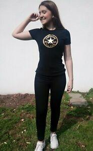 T-shirt Converse noir graphique doré  manches courtes