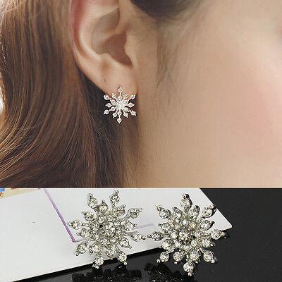 Fashion Crystal Rhinestone Snowflake Star Ear Stud Earrings Wedding Bridal Gifts