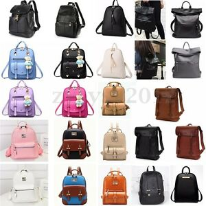 Image Is Loading Women Leather Satchel Travel School Backpack S Rucksack