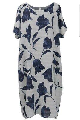 Ladies Tulip Print Lagenlook Linen Dress White New Pockets