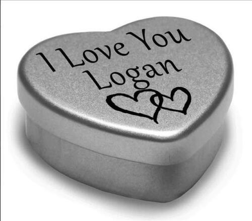 Je vous aime LOGAN mini coeur tin cadeau pour I Heart LOGAN avec chocolats