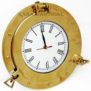 Nautical-Marine-10-034-Brass-Ship-Porthole-Clock-Ship-Window-Brass-Porthole-Replica