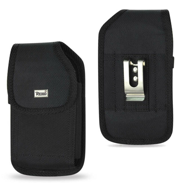 Reiko Vertical Heavy Duty Canvas Belt Clip Case for Phone with Lifeproof on it
