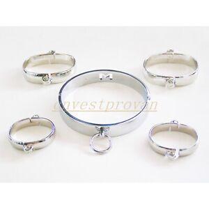 NEW-Stainless-Steel-Handcuffs-Ankle-Cuffs-Neck-Collar-Set-Restraints-Slave-BDSM