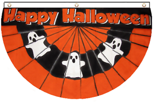 Happy Halloween Ghost USA Style Pleat-Effect Bunting 5/'x3/'