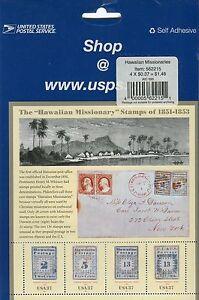 Versiegelt-USPS-Hawaiian-Missionary-Stempel-Blatt-1851-1853-vier-37c-Briefmarken-2002