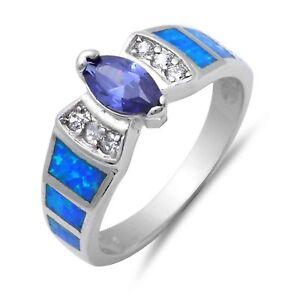 Tanzanita-Corte-Marquesa-Azul-opalo-Diamante-Sintetico-Anillo-Plata-de-Ley