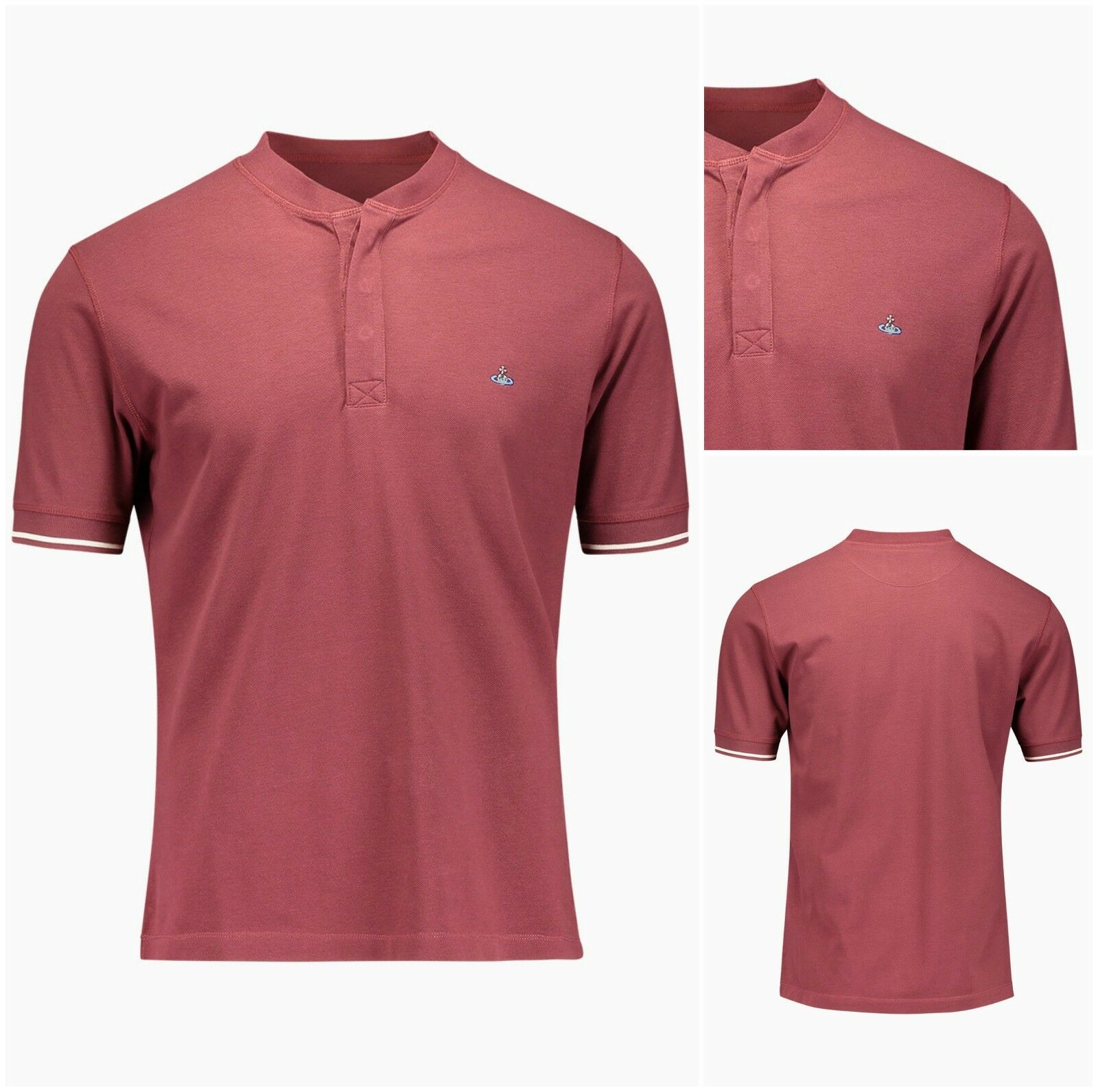 AUTHENTIC VIVIENNE WESTWOOD BURGUNDY FITTED HENLEY POLO SHIRT. XL. 42  CHEST