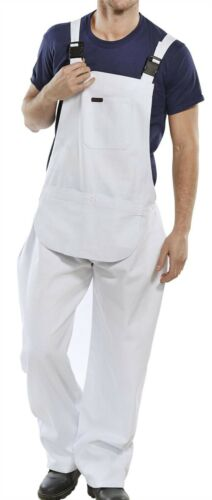 New Mens Bib and Clipped Brace Cotton Drill Decorating Overalls Work Uniform