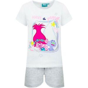 Girls Kids Children Trolls Cotton Pyjamas Pjs T-Shirt Shorts Set 3-8 years