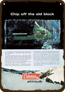 1970-COLEMAN-SKIROULE-SNOWMOBILE-Vintage-Look-METAL-SIGN-SNOW-MACHINE-IN-ICE