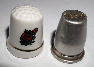 2 Fingerhüte - Blech Und Keramik Attraktive Designs;