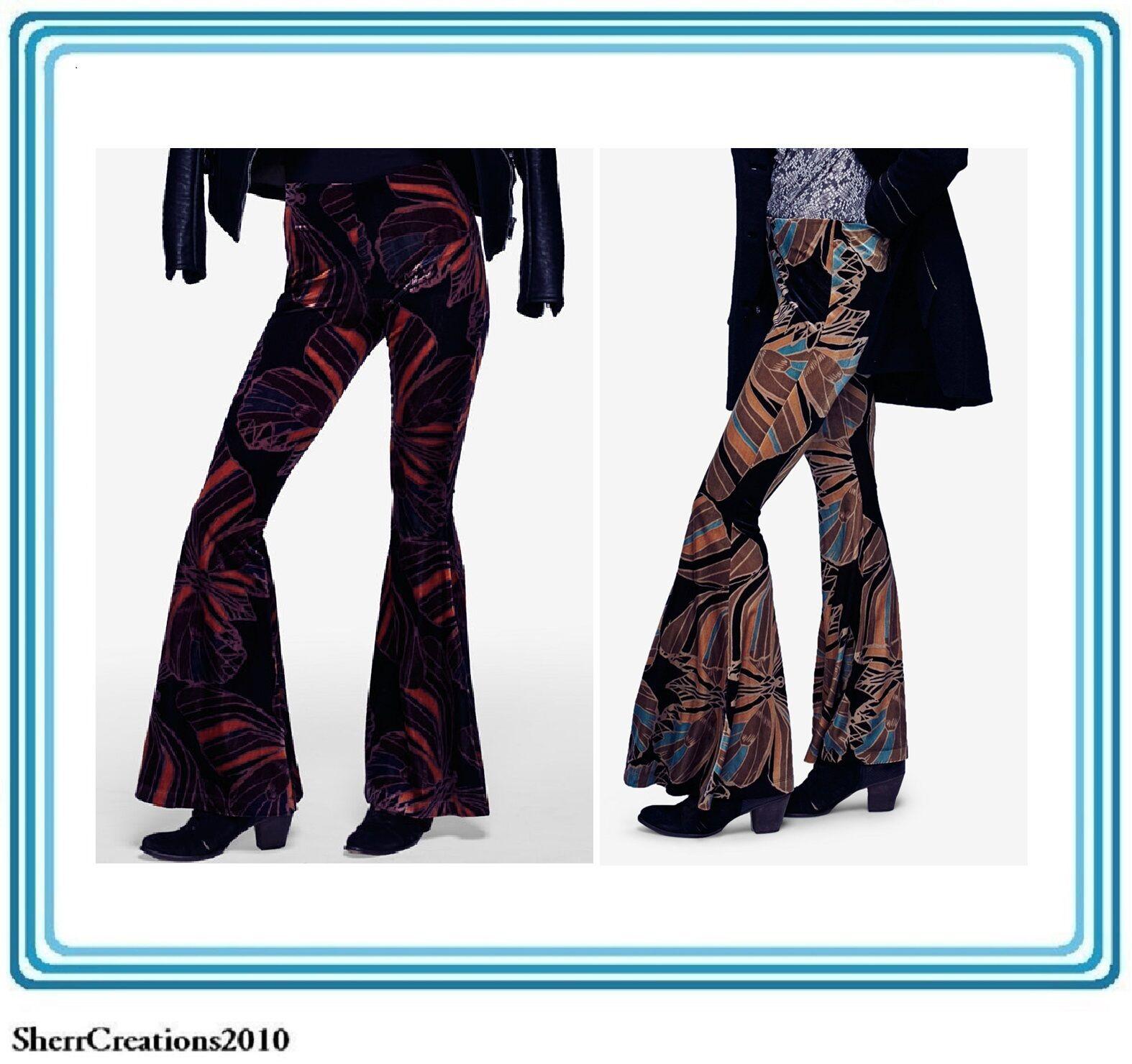 NWT Free People Women's Float Away Printed Velour Flare-Leg Pants MSRP  128