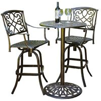 Cast Aluminum Brown Outdoor Bistro Bar Set, 1 on Sale
