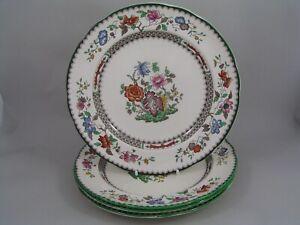 FOUR-COPELAND-SPODE-CHINESE-ROSE-10-1-2-034-DINNER-PLATES-BROWN-BLACKSTAMP