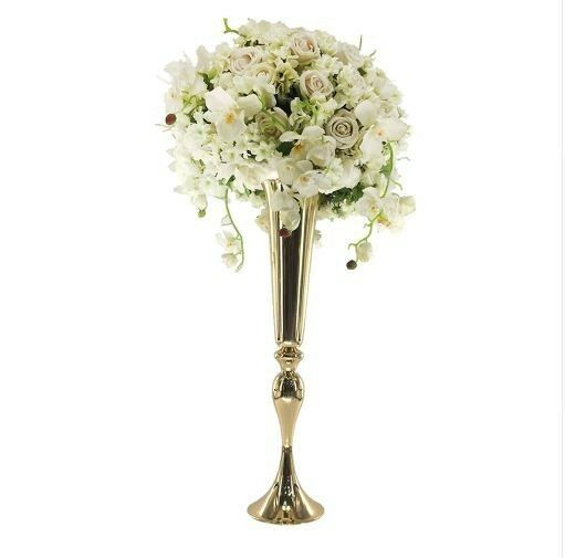 Gold Flower Vase Mermaid Vase Trumpet e Centerpieces for Wedding 22inch 10pcs