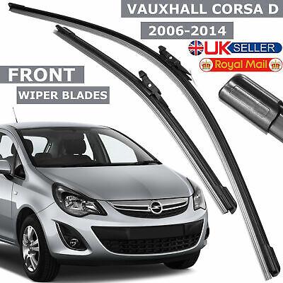 """Fit Vauxhall Corsa D Front Windscreen 26/"""" 16/"""" Flat Aero Wiper Blades Twin Set"""