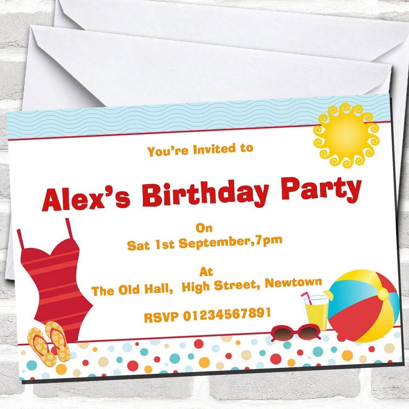 Beach Theme Sun Pool Theme Beach Birthday Party Invitations B5ae23