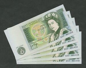 BANK OF ENGLAND QEII Page £1 1978 (5 CONSECUTIVE) B337  Uncirculated  Banknotes