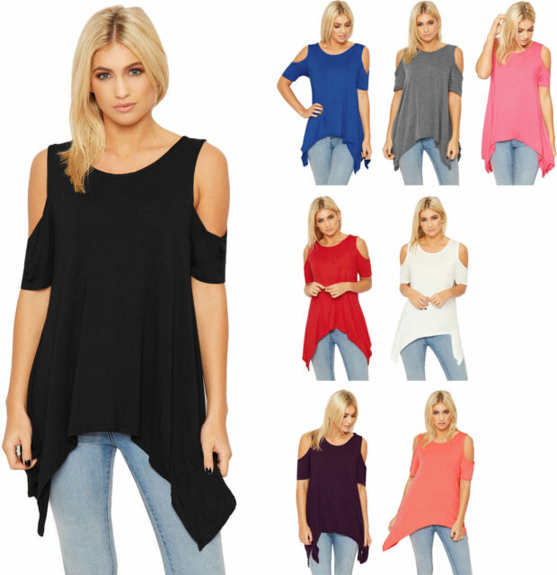 Ladies Hanky Hem Top Ladies Cut Out Cold Shoulder Short Sleeve Basic 8-14