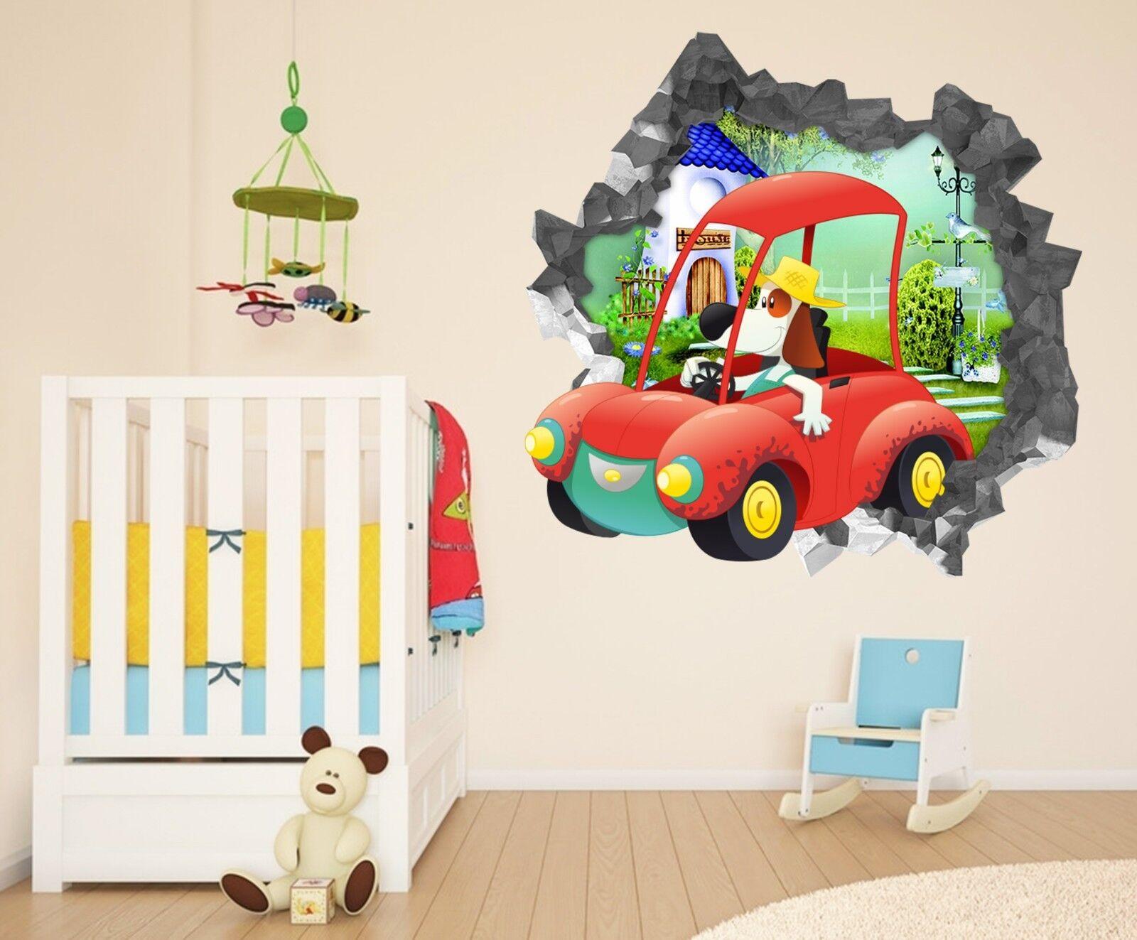 3D Hund Auto 235 Mauer Murals Mauer Aufklebe Decal Durchbruch AJ WALLPAPER DE