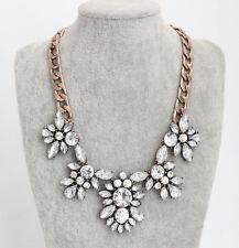 Vintage Gold GP Clear Crystal leaf Choker Chunky Statement Bib Collar Necklace