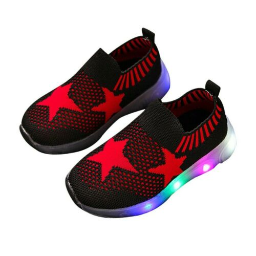 Baby Boys Girls Kids Running Shoes Sneakers LED Light Up Luminous Sport Trainer