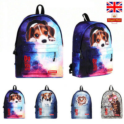 Cute Cat Dog Children Backpack Rucksack Kids Girl School Bag Lunch Bag BB013