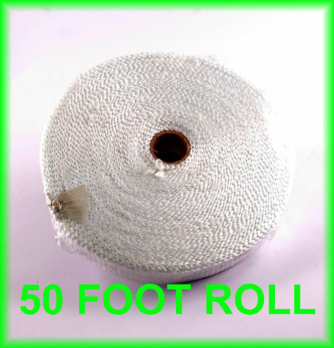 "1/"" WHITE EXHAUST PIPE HEADER WRAP BIKE MOTORCYCLE HEAT INSULATION TAPE 50 FT"