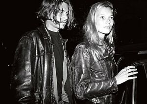 Johnny Depp And Kate Moss Leather Bw Poster Ebay
