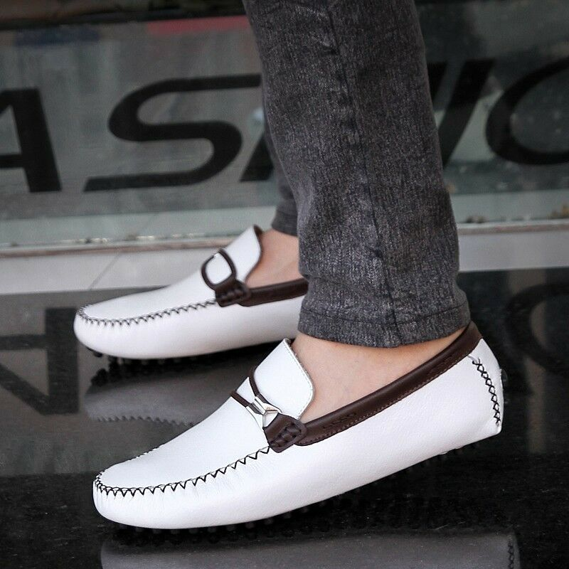 Mens Genuine cow Leather Casual Slip On Loafer Shoes Moccasins Driving Shoes