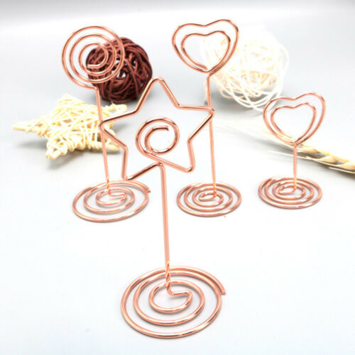 6x//set Rose Gold Cute Cards Stand Clips Photo Menu Holder Office Table Decor New