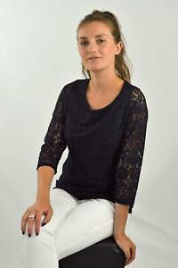 MARKS-amp-SPENCER-para-mujer-Negro-Encaje-Floral-una-Per-3-4-Sleeve-Top-Rrp-35