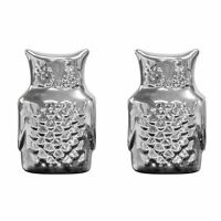 Food Network Owl Salt And Pepper Shaker Set Silver Metalic Stoneware In Box