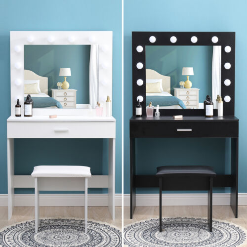 Modern Dressing Table With Led, Led Mirror Dressing Table And Stool