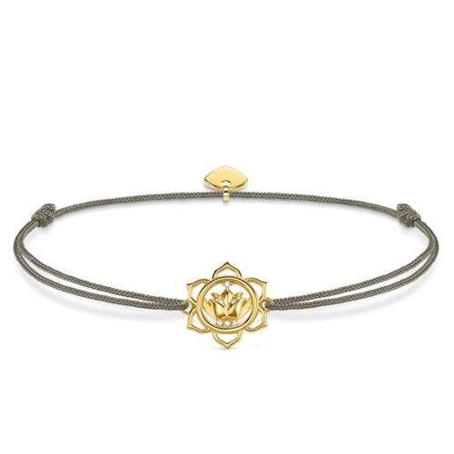 Thomas Sabo Little Secrets Bracelet Grey Adjustable cord Gold plated Lotus