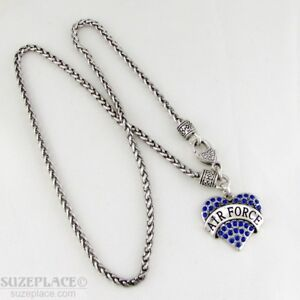 NEW-AIR-FORCE-BLUE-CRYSTAL-HEART-CHARM-SILVER-NECKLACE-HEART-CLASP-MILITARY