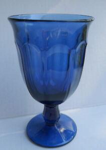 "Noritake Provincial Dark Blue Ice Tea Goblet  Wine Glass 6 3/8"" Tall  VTG"
