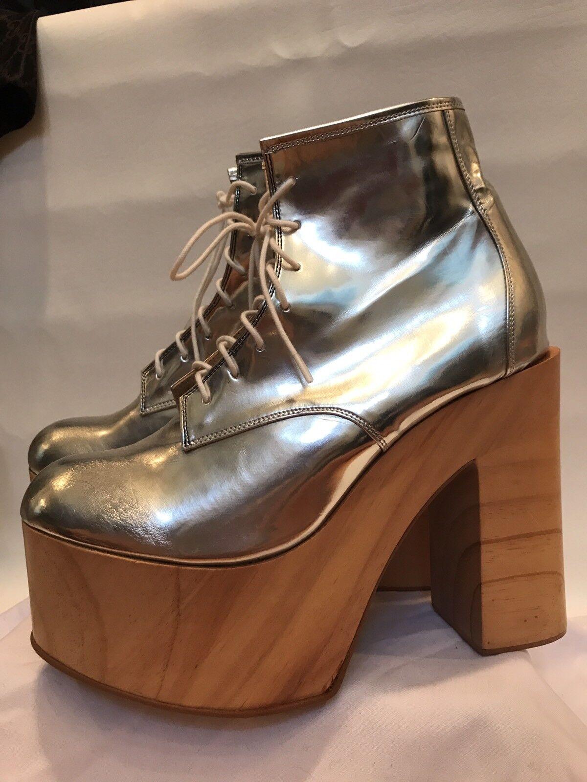 DEANDRI Wood PLATFORM BOOTS 9 Silver Metallic MIRROR Made In LA Jeffrey Campbell
