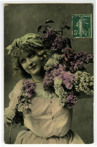 c 1909 Children Chld Young GIRL w FLOWERS rotogravure photo postcard